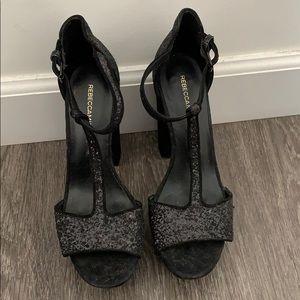Rebecca Minkoff glitter and suede heels